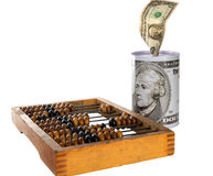 Dinheiro, ábaco, moneybox Foto de Stock Royalty Free
