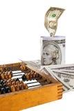 Dinheiro, ábaco, moneybox Imagens de Stock
