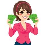 Dinheiro Bill Fan Successful Businesswoman ilustração royalty free