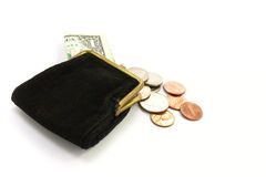 Dinheiro. Bolsa com um dólar e moedas Fotos de Stock
