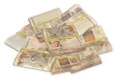 Dinheiro brasileiro amarrado e empilhado imagem de stock