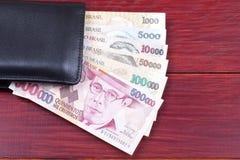 Dinheiro brasileiro na carteira Fotografia de Stock