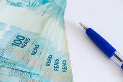 Dinheiro brasileiro, reais, altamente nominais Fotografia de Stock