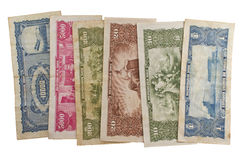 Dinheiro brasileiro velho no fundo branco Fotografia de Stock