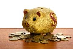Dinheiro-caixa na tabela Fotografia de Stock