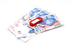 Dinheiro com chave Foto de Stock Royalty Free