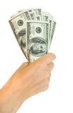 Dinheiro com mão Foto de Stock Royalty Free