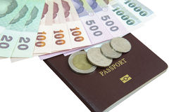 Dinheiro com o passaporte para o curso imagem de stock royalty free