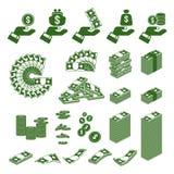 Dinheiro com os ícones da mão ajustados ilustração stock