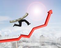 Dinheiro com os pés humanos que correm na seta vermelha acima do gráfico Fotos de Stock Royalty Free