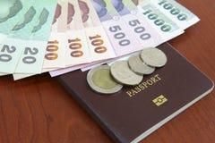 Dinheiro com passaporte fotos de stock