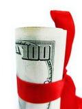 Dinheiro como o presente sobre o fim do branco acima Fotos de Stock Royalty Free