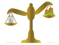 Dinheiro contra o projeto da ilustração do balanço do petróleo Fotografia de Stock