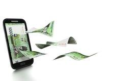 dinheiro coreano rendido 3D inclinado e isolado no fundo branco ilustração royalty free