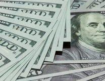 Dinheiro 100 dólares de fundo Fotografia de Stock Royalty Free
