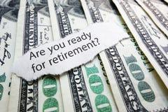 Dinheiro da aposentadoria Imagem de Stock