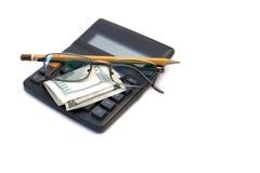 Dinheiro da calculadora Foto de Stock Royalty Free