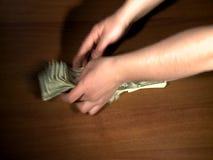 Dinheiro da coleta e do countig, dólares americanos filme