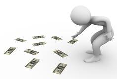 dinheiro da colheita do homem 3d Foto de Stock Royalty Free