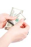 Dinheiro da contagem Fotos de Stock Royalty Free