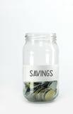 Dinheiro da economia na garrafa Fotos de Stock Royalty Free