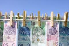 Dinheiro da lavanderia Fotos de Stock Royalty Free