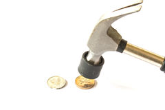 Dinheiro da moeda da batida de Hummer no fundo branco Fotografia de Stock Royalty Free