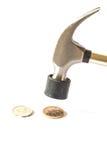 Dinheiro da moeda da batida de Hummer no fundo branco Fotos de Stock Royalty Free