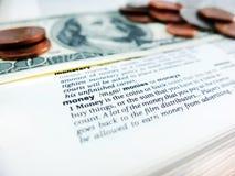 Dinheiro da palavra Foto de Stock