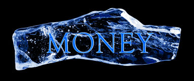 DINHEIRO da palavra congelado no gelo Fotos de Stock Royalty Free