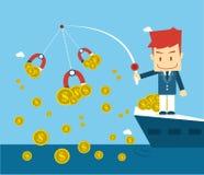 Dinheiro da pesca do homem de negócios no navio Fotografia de Stock