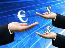 Dinheiro da preensão do banco euro- para a troca fotos de stock royalty free
