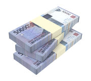 Dinheiro da rupia indonésia isolado no fundo branco Imagem de Stock