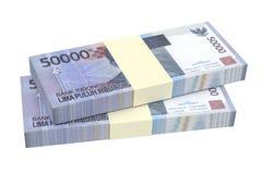 Dinheiro da rupia indonésia isolado no fundo branco Imagens de Stock