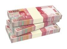 Dinheiro da rupia indonésia isolado no fundo branco Fotografia de Stock