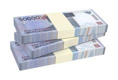 Dinheiro da rupia indonésia isolado no fundo branco Imagens de Stock Royalty Free