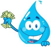 Dinheiro da terra arrendada da gota da água ilustração stock