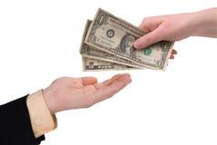 Dinheiro da terra arrendada da mão da mulher Fotos de Stock Royalty Free
