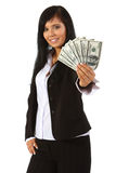 Dinheiro da terra arrendada da mulher nova Imagem de Stock Royalty Free