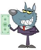 Dinheiro da terra arrendada do homem de negócios do lobo Imagens de Stock Royalty Free