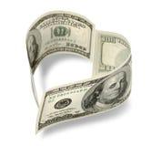 Dinheiro dado forma coração Fotografia de Stock