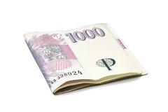 Dinheiro das notas de banco de Checo mil Foto de Stock