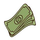 dinheiro das notas de dólar do dinheiro da pilha dos desenhos animados Foto de Stock Royalty Free