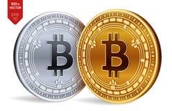 Dinheiro de Bitcoin Moeda cripto moedas 3D físicas isométricas Moeda de Digitas As moedas douradas e de prata com Bitcoin descont ilustração royalty free