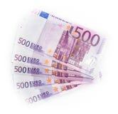 dinheiro de 500 cédulas das euro- contas euro- Moeda da União Europeia Fotos de Stock Royalty Free