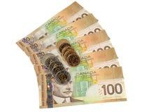 Dinheiro de Candian ventilado com moedas imagem de stock royalty free
