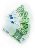 dinheiro de 100 cédulas das euro- contas euro- Moeda da União Europeia Imagens de Stock Royalty Free