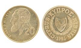 Dinheiro de Chipre - 20 centavos Foto de Stock
