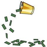 Dinheiro de derramamento da cubeta dourada Fotografia de Stock Royalty Free