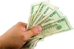 Dinheiro de Holdnig da mão foto de stock